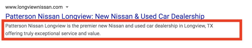 car dealership meta description