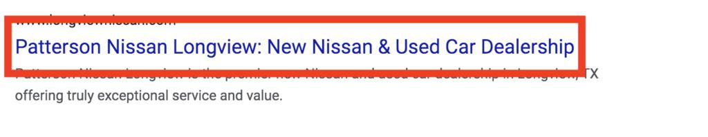 car dealership meta title tag