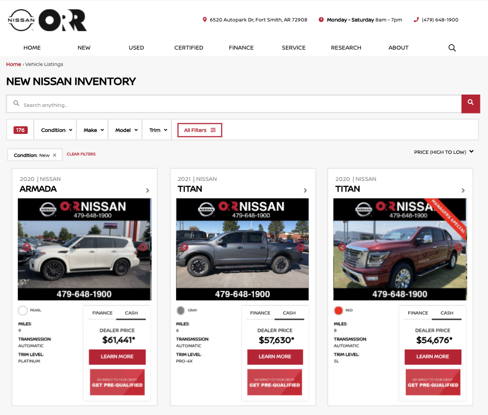 car dealership vehicle inventory search results page
