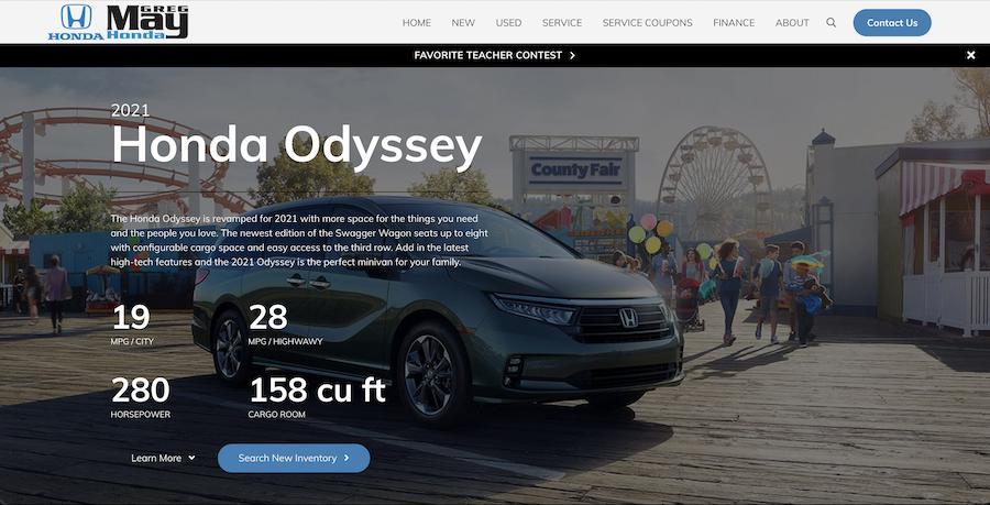 car dealership website model research page