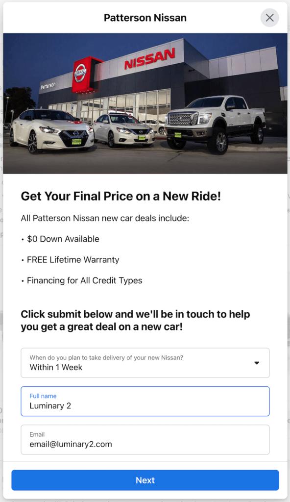automotive facebook lead ad