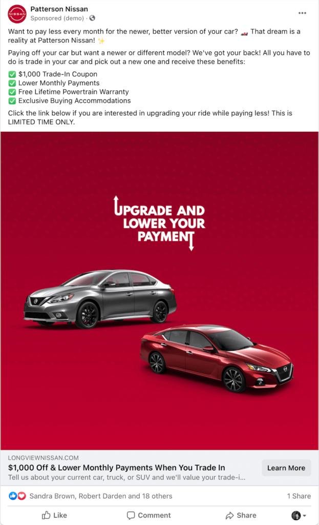 vehicle trade facebook ad