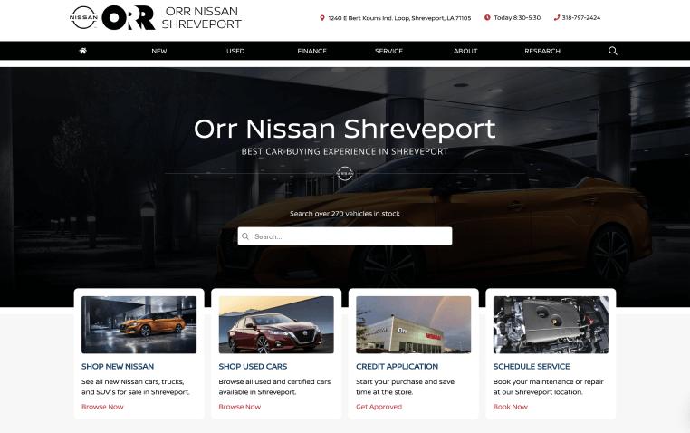 Orr Nissan Shreveport Website Homepage (2)
